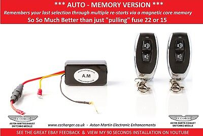 AUTO MEMORY Aston Martin Exhaust By-pass Remote Control V8 Vantage Fuse 22 F15