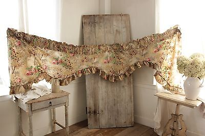 ( Antique French printed linen VALANCE ruffle  design c1890 teal pink fabric)