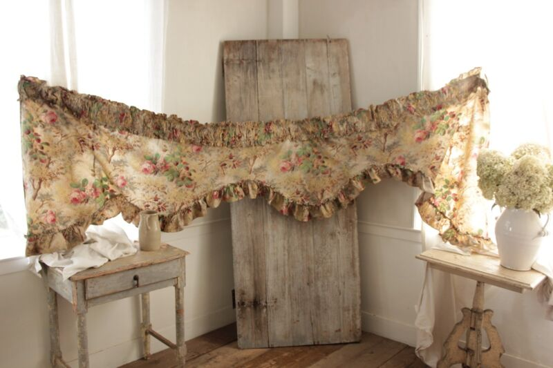 Valance Antique French printed linen ruffle c1890 teal pink fabric design