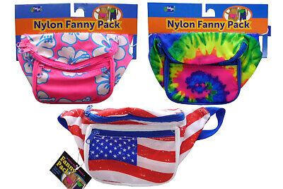 3 Pocket Fanny Pack Nylon Zipper Pouch Tie Dye American Flag Floral Pink -