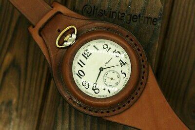 VTG Krsnikof Molnija Train Pocket Watch + WWI Style New Leather WRISTBAND WWII