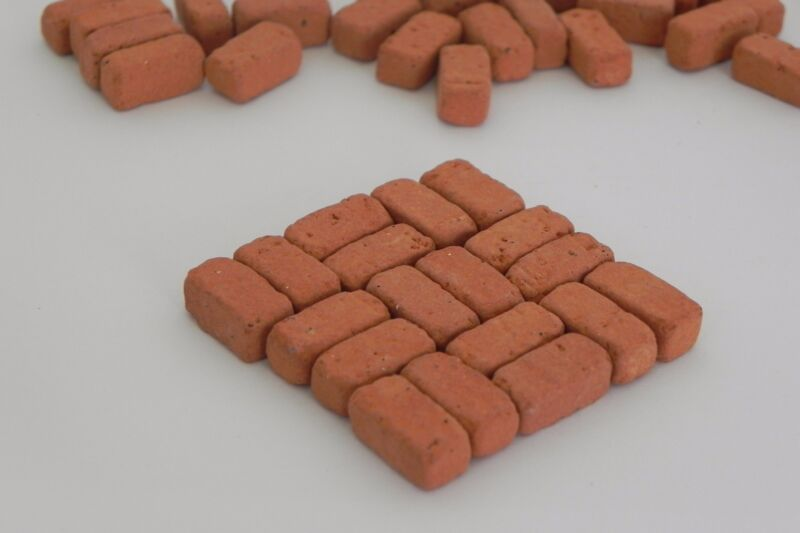 Miniature Bricks Dollhouse Red Color Brick Material About 40 Pieces Dollhouse