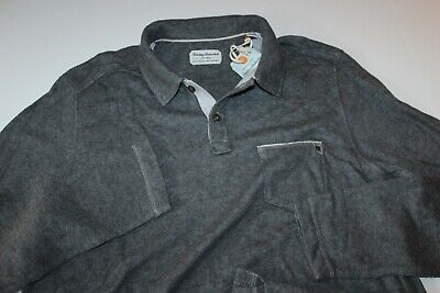 Tommy Bahama Polo Shirt Palm Oasis Fog Grey Heather TD29080 New Medium M Tommy Bahama Oasis