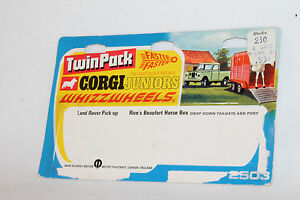 CORGI-JUNIORS-TWIN-PACK-LAND-ROVER-PICK-UP-HORSE-BOX-TRAILER-BLISTERPACK-CARD