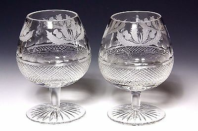2x LARGE EDINBURGH CRYSTAL THISTLE DESIGN BRANDY GLASSES FIRST QUALITY & SIGNED