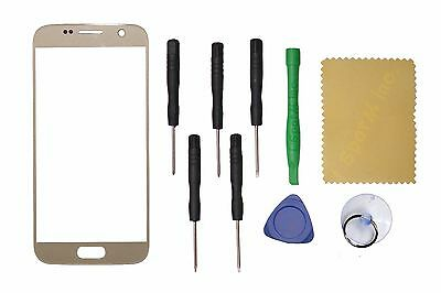 Gold Front Outer Touch Screen Glass Replacement For Samsung Galaxy S7 G930 G930