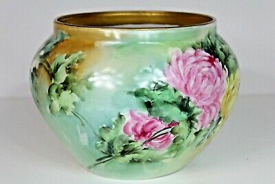 LARGE D&C LIMOGES FRANCE FLORAL VASE GOLD RIM SIGNED JC Summer. Large Floral Vase