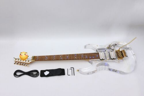 LED Light Electric guitar Crystal Guitar Body Maple Rosewood Vine Inlay Blue