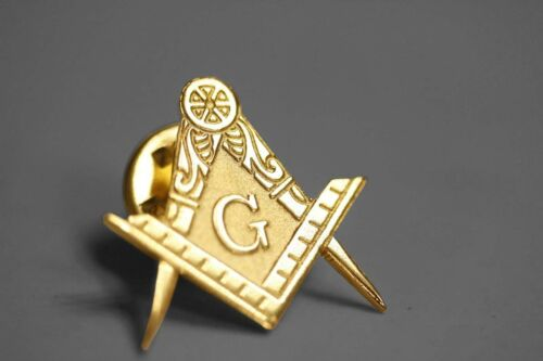 "NEW Masonic LAPEL PIN 3/4"" Freemason 24k Gold Plated Mason compass square"