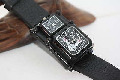 Rare Statement Vintage Emporio Armani Men's Pilot Military Style Double Watch