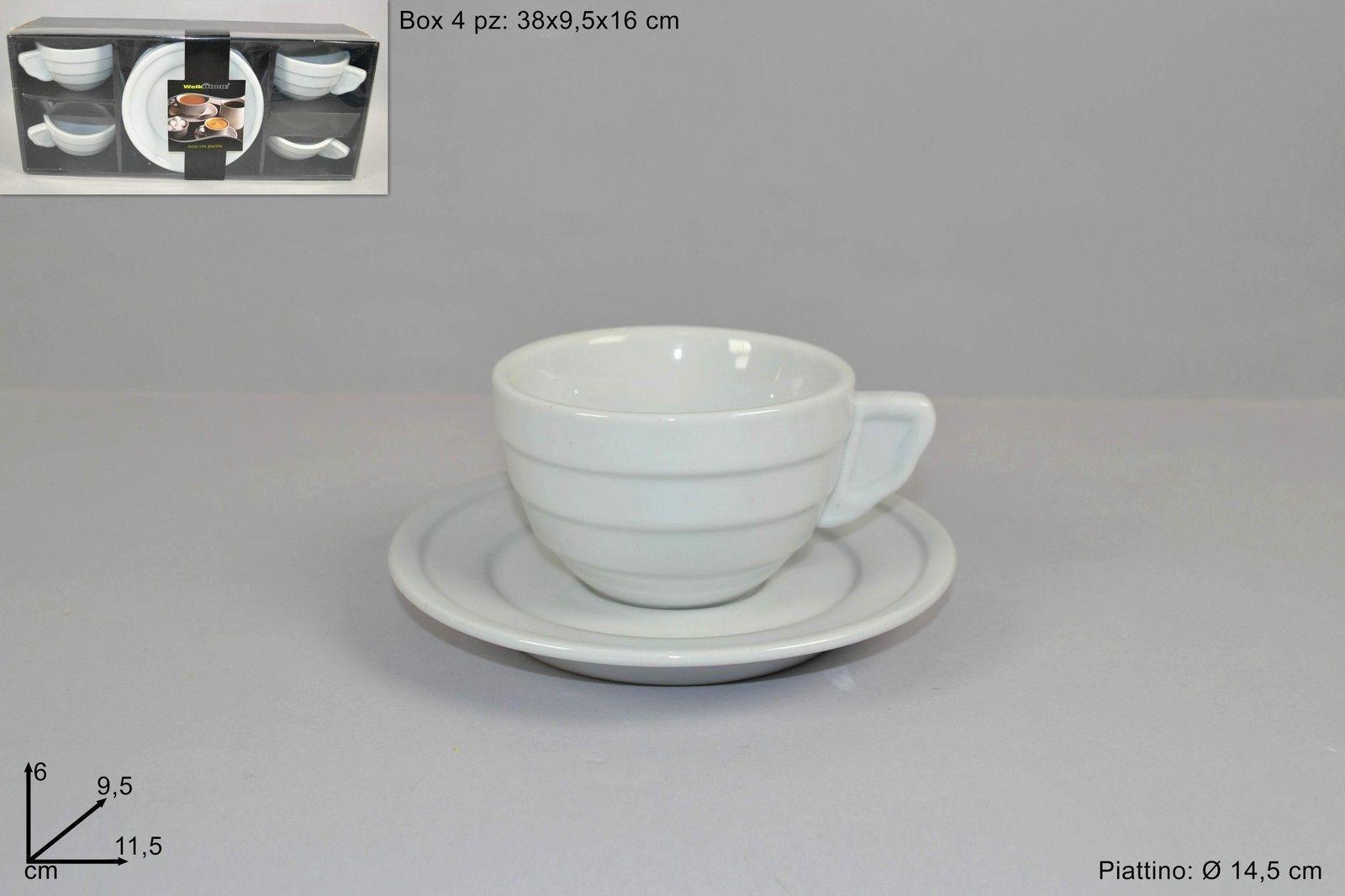 Set 4 Tazze Colazione Ceramica Bianca Ali Tazzoni Con Piattino Cappuccino dfh