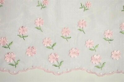 "Embroidered Organza White Sheer Dress Apparel Fabric Pink Floral Scalloped 52""W"