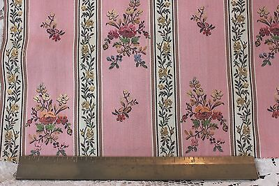 "French Vintage Antique Silk Brocaded Lampas Fabric c.1920~18""L X 22""W~HomeDec"