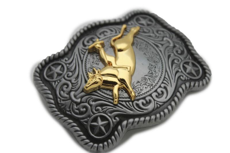 3D BIG BULL Belt Buckle Western Cowboy SILVER Gold Rodeo QUALITY MEN WOMEN bu012
