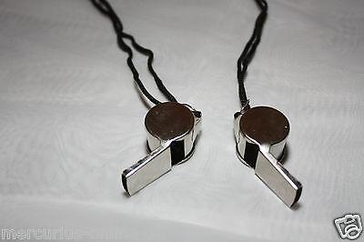 5 x Schiedsrichterpfeife Metall mit Halsband Trillerpfeife,Pfeife TOP Qualität
