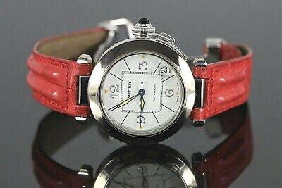 Pasha De Cartier 18K White Gold Diamond 2308 Ladies Wrist Watch 35mm Leather Red