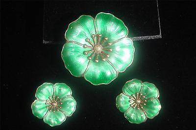 SET DENMARK STERLING SILVER DGH GREEN ENAMEL,GUILLOCHE FLOWER BROOCH EARRINGS