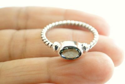 Green Oval Quartz - Oval Green Quartz Solitaire Sterling Silver Twisted Band Ring Size 6.25 6.5 7 8