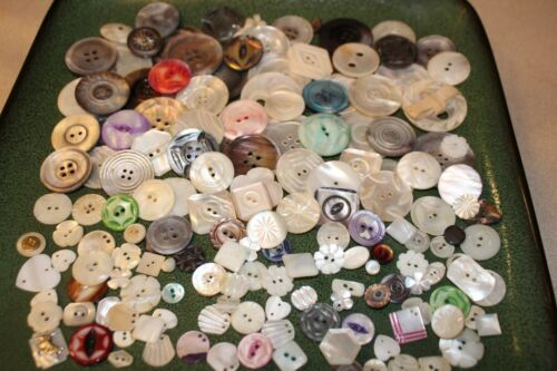 Big Lot 187 Vintage Shell MOP Sewing Buttons Ornate Crafts & Art