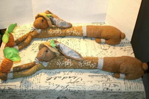 "2 Window Door Draft Stopper 36"" Plush Noise Reducer Animal Happy Easter Rabbits"
