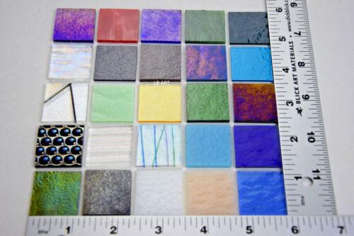 """25 - 1"""" x 1"""" FUSIBLE BULLSEYE GLASS SAMPLER MIX OPAQUE / TRANSPARENT 90 COE"""