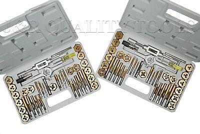 80 Pc Piece Titanium Metric Sae Size Inch Steel Tap And Die Tool Set Kit