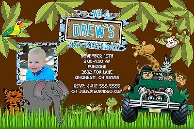 Add Wild Safari Jungle - Jungle Safari Birthday Party Invitation Any Colors Add Photo Let's Get Wild