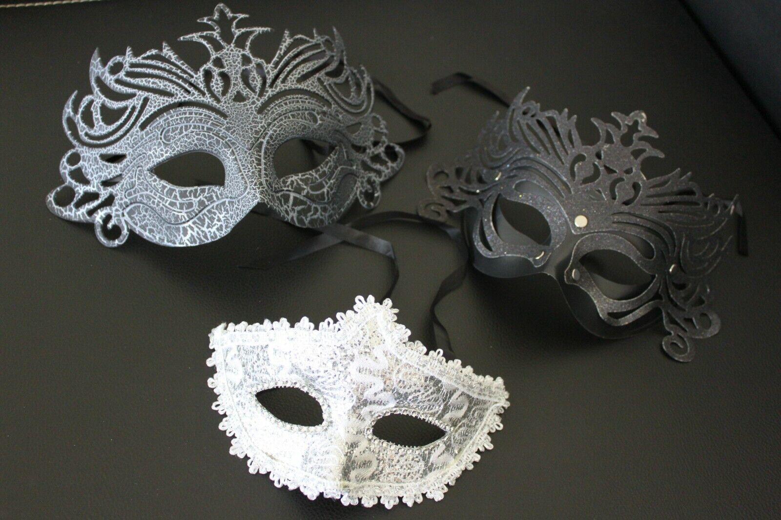 drei Kostüm Masken Herren Unisex Maske Foto Shooting Karneval Party gebr unben.