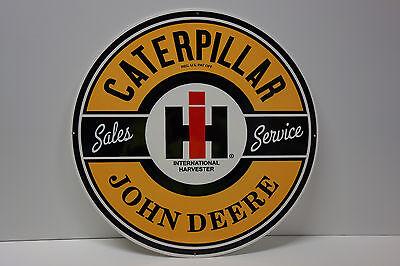 """CATERPILLAR IH JOHN DEERE DEALER DIE CUT Sign Rare LATE 70's 80's ENAMEL 16"""""""