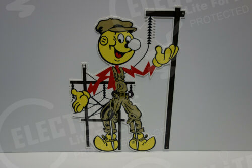 "Reddy Kilowatt Power Light Bulb Electric ""LINEMAN"" SIGN. ELECTRICIAN GIFT!"