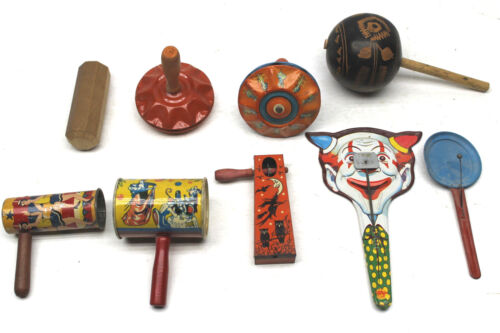 Vintage USA Halloween New Years Noise Makers Pressed Tin Supurb Graphics!!