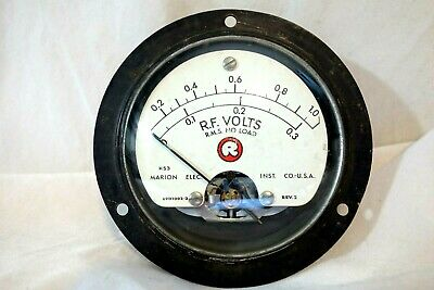 Marion Electric Antique Radio Panel Meter Audio And Radio Frequency Volts Rf H53