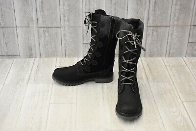 Kamik Takoda Tall Lace Up Boots - Big Girl's Size 6 - Black Big And Tall Boots