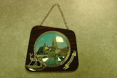 Kleines Bild 60er Jahre Souvenir aus Regensburg Glas Holz