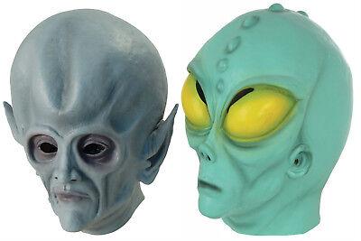 Alien UFO Space ET Halloween Rubber Face Mask SI FI Martian Fancy Dress