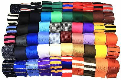 (Mens Knit Knitted Neck Tie Woven Slim Square 2.5