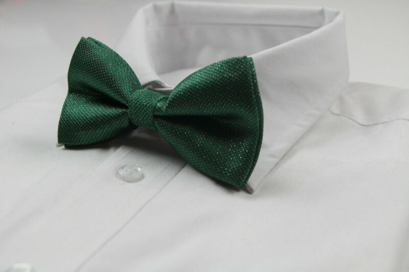 Mens Green And Silver Pattern Bow Tie Pre-tied Men