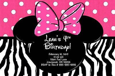Custom Minnie Mouse Birthday Invitations (Minnie Mouse Zebra Custom Designed Birthday Party)