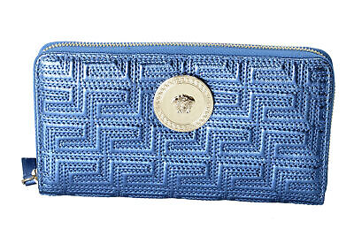 Versace Women's Sparkle Blue 100% Leather Medusa Embellished Zip Around Wallet
