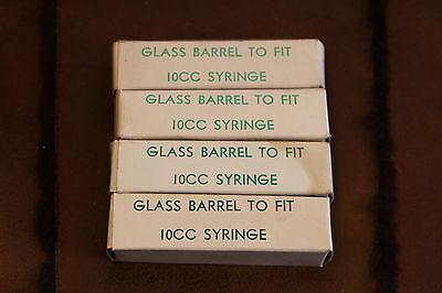 4 Vintage Veterinary 10CC Glass Syringe Barrels in Original Boxes Haver-Lockhart