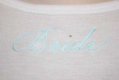 Linea Donatella Bridal ivory embroidered Bride Rhinestone Tank Top sleep large L Bridal Embroidered Tank Top