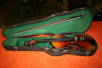 Antique Vintage Old Violin Full Size 1930s With Bow And Original Case