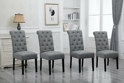 4x Gray Dining Chairs High Back Fabric Upholstered Button Tufted Dining Room New