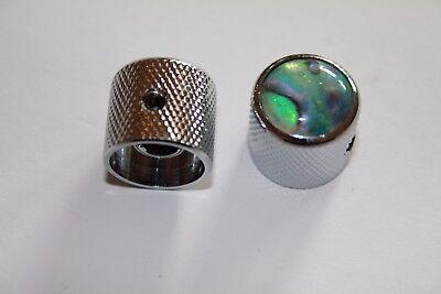 Metall Knopf Dome Domeknopf Reglerknopf Potiknopf chrom Abalone Einlage Inlay