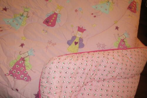"LAURA ASHLEY VINTAGE ""FUN FAIRIES"" COMFORTER,FULL 78"" X 86"",ROSE HEARTS BACKING"