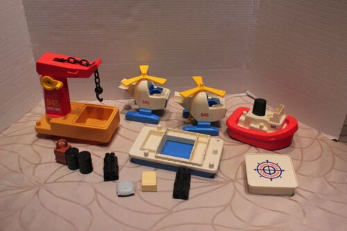 Vintage Fisher Price 945 Offshore Cargo Base parts. Barge boat crane helicopters