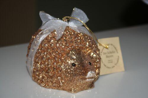 Ino Schaller Germany Golden Glitter Hedgehog Ornament NWT some glitter loss