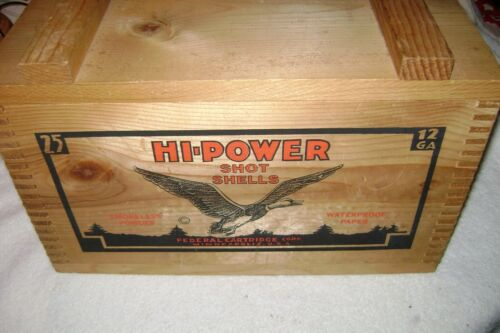 HI POWER SHOT SHELLS WOODEN CRATE BOX W/ LID AND DOVETAIL CORNERS CARVED HANDLE