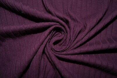 Eggplant Ribbed Cable Sweater Knit #43 Cotton Spandex Stretch 200 GSM Fabric BTY Cotton Spandex Jumper