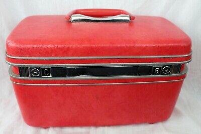 Samsonite Silhouette Makeup Hard Train Case Red Luggage Sewing Storage Vintage